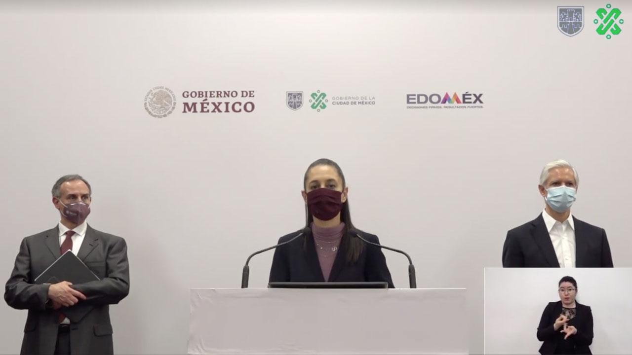 Dr. Hugo López-Gatell, Dra. Claudia Sheinbaum y Alfredo del Mazo, durante la conferencia