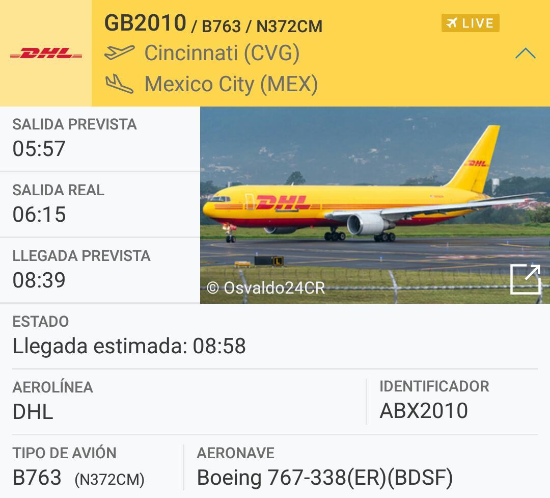Avión de carga con la llegada de la mayor carga de vacuna contra Covid-19 a Mëxico