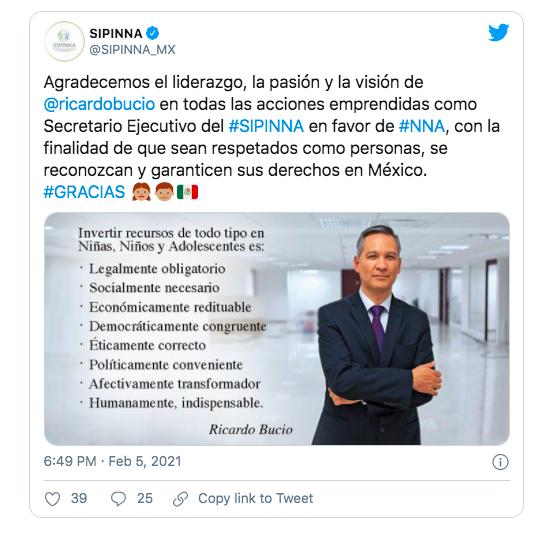 Renuncia Ricardo Bucio a la dirección de SIPINNA