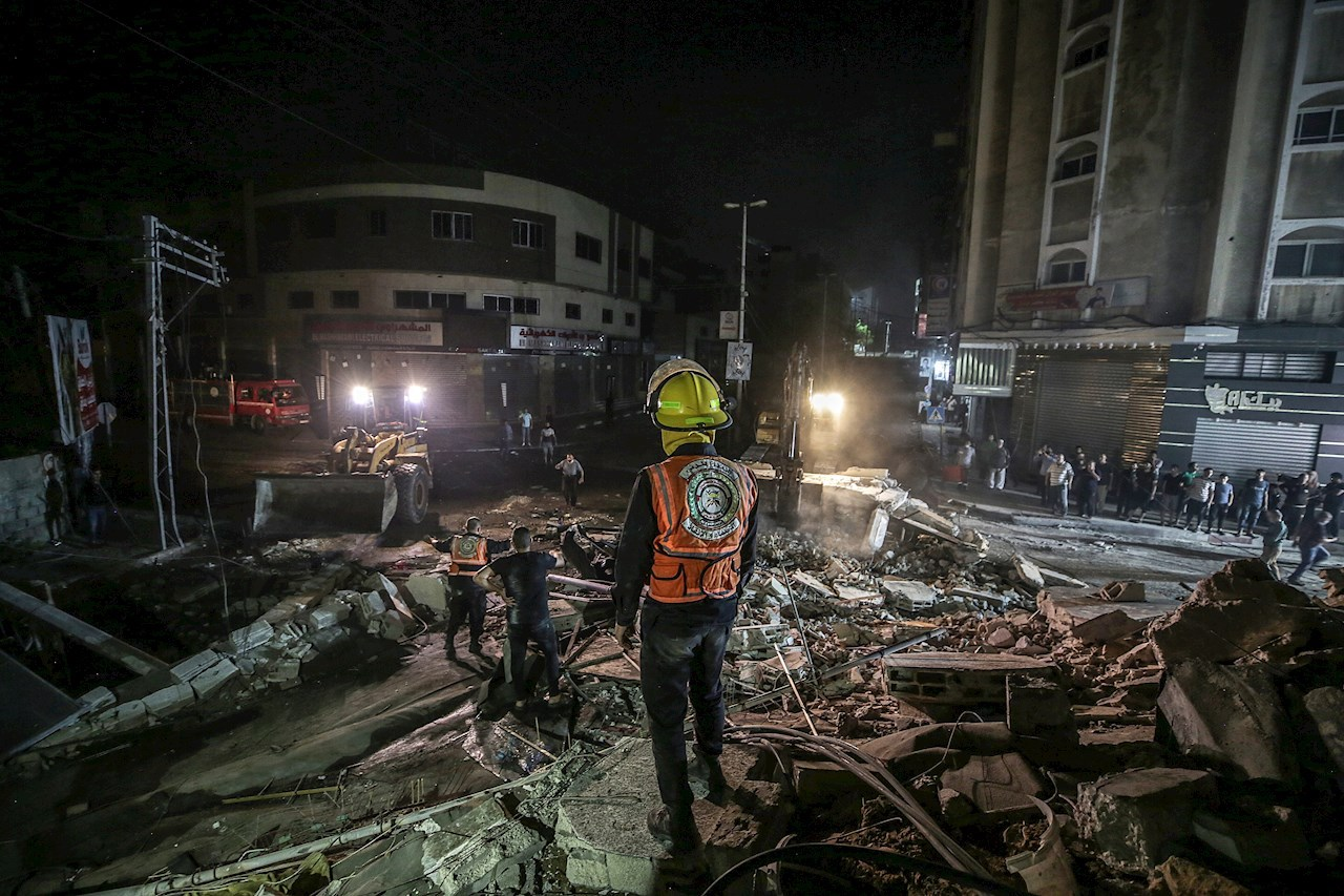Foto de un área de Gaza tras un ataque en Palestina-