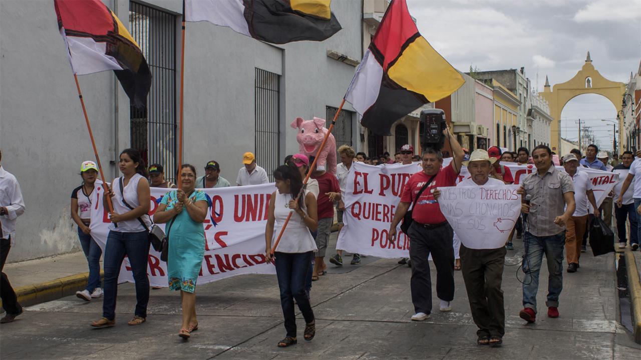 Foto de protestas de la comunidad de Homún
