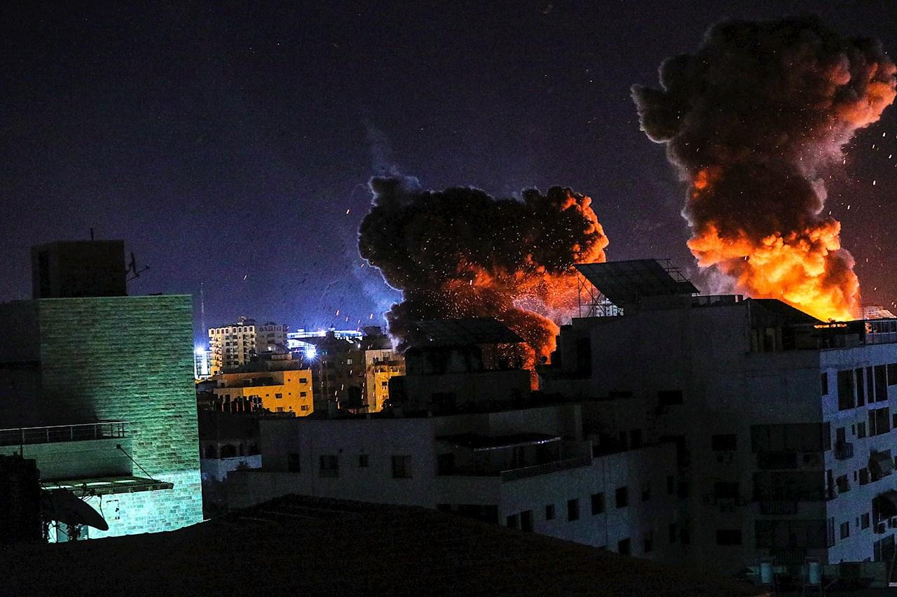 Foto del bombardeo en Gaza por el conflicto contraq Israel