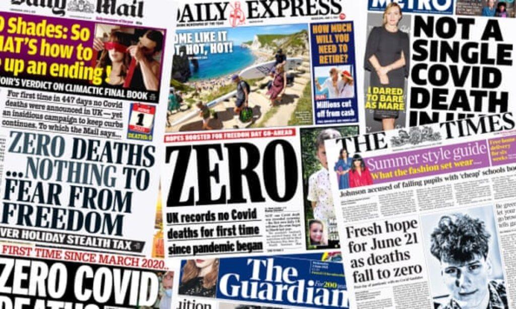 """""""Cero"""": cómo los diarios británicos cubrieron un día sin muertes por Covid-19"""
