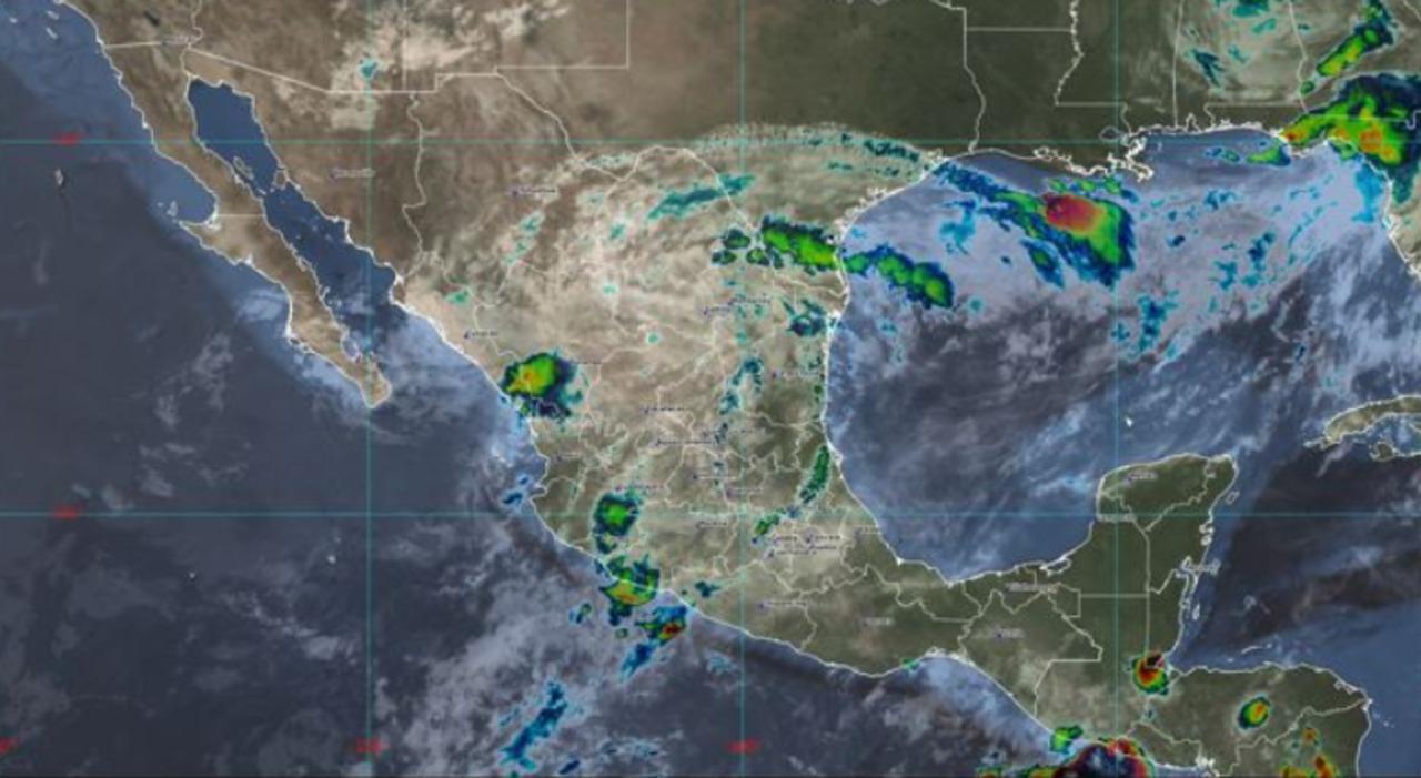 Mapa que muestra a la tormenta tropical dolores y otros fenómenos en méxico
