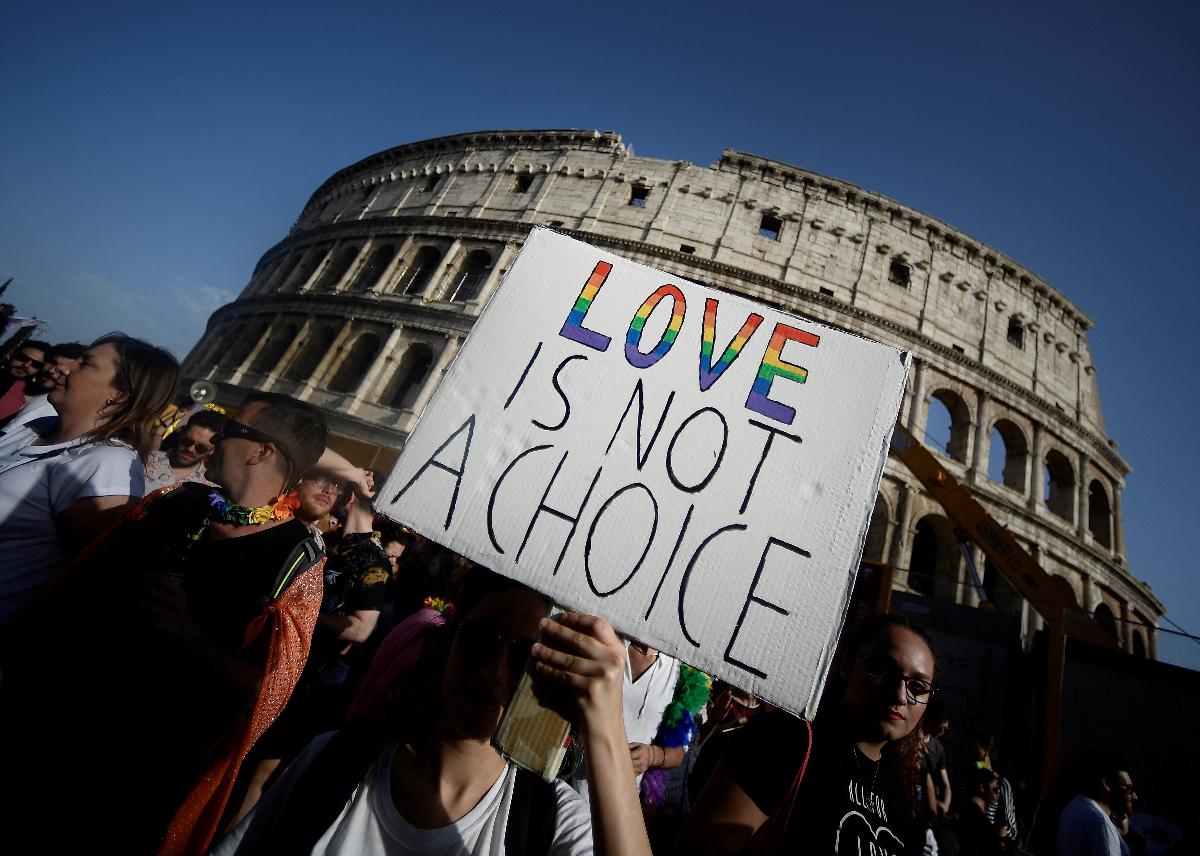 Foto de manifestación gay en Italia