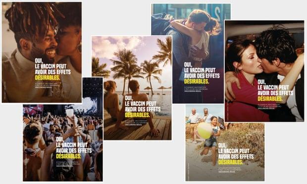 Los carteles franceses de parejas besándose buscan promover la vacunación entre los jóvenes