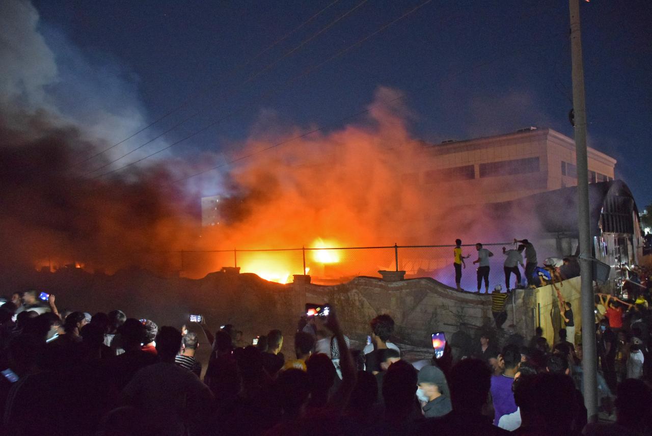 Foto del incendio en el hospital de Irak