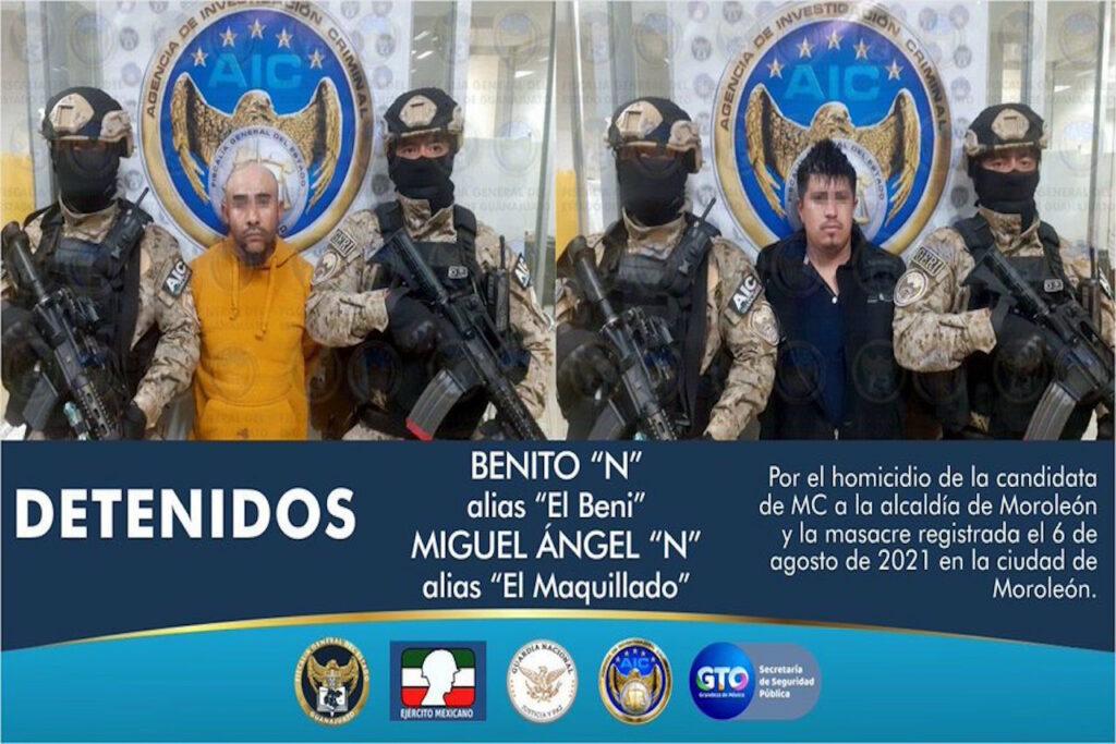 Policías de Guanajuato detienen a dos presuntos asesinos de candidata de MC en Moreleón