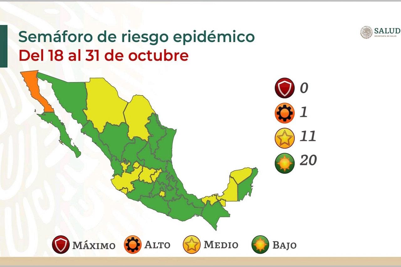 México se pinta de verde: 20 estados, en riesgo bajo por Covid, 11 en amarillo y BC en naranja